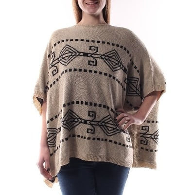 FRENCH CONNECTION Womens Brown Striped Dolman Sleeve Crew Neck PONCHO Sweater Size: M
