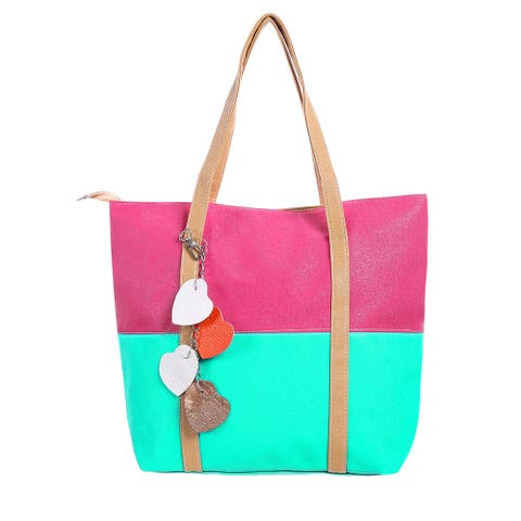 Women Color Block Dual Handles Zippered Top Classic Tote Bags - Beige,watermelon Red