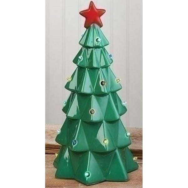 "13"" LED Lighted Battery Operated Christmas Tree with Bright Red Star - green"