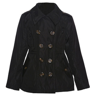 Urban Republic Little Girls Black Double Breasted Back Button Detail Coat
