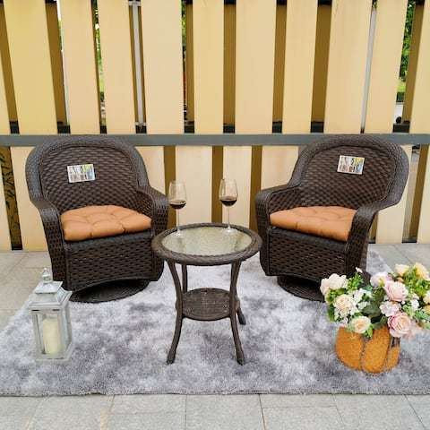 Direct Wicker Outdoor 3-piece Wicker Chat Set with Swivel Chairs