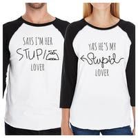 Stupid Lovers Matching Couples Baseball Shirts Graphic Raglan Tees