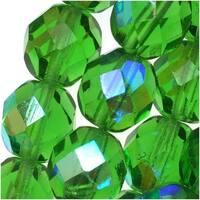Czech Fire Polished Glass Beads 8mm Round Green Light Emerald AB (25)