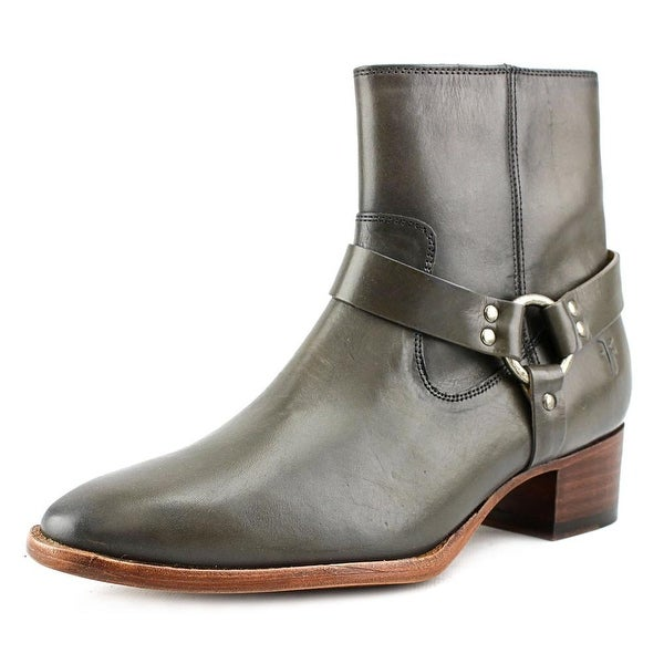Frye Dara Harness Short Women Round Toe Leather Gray Bootie