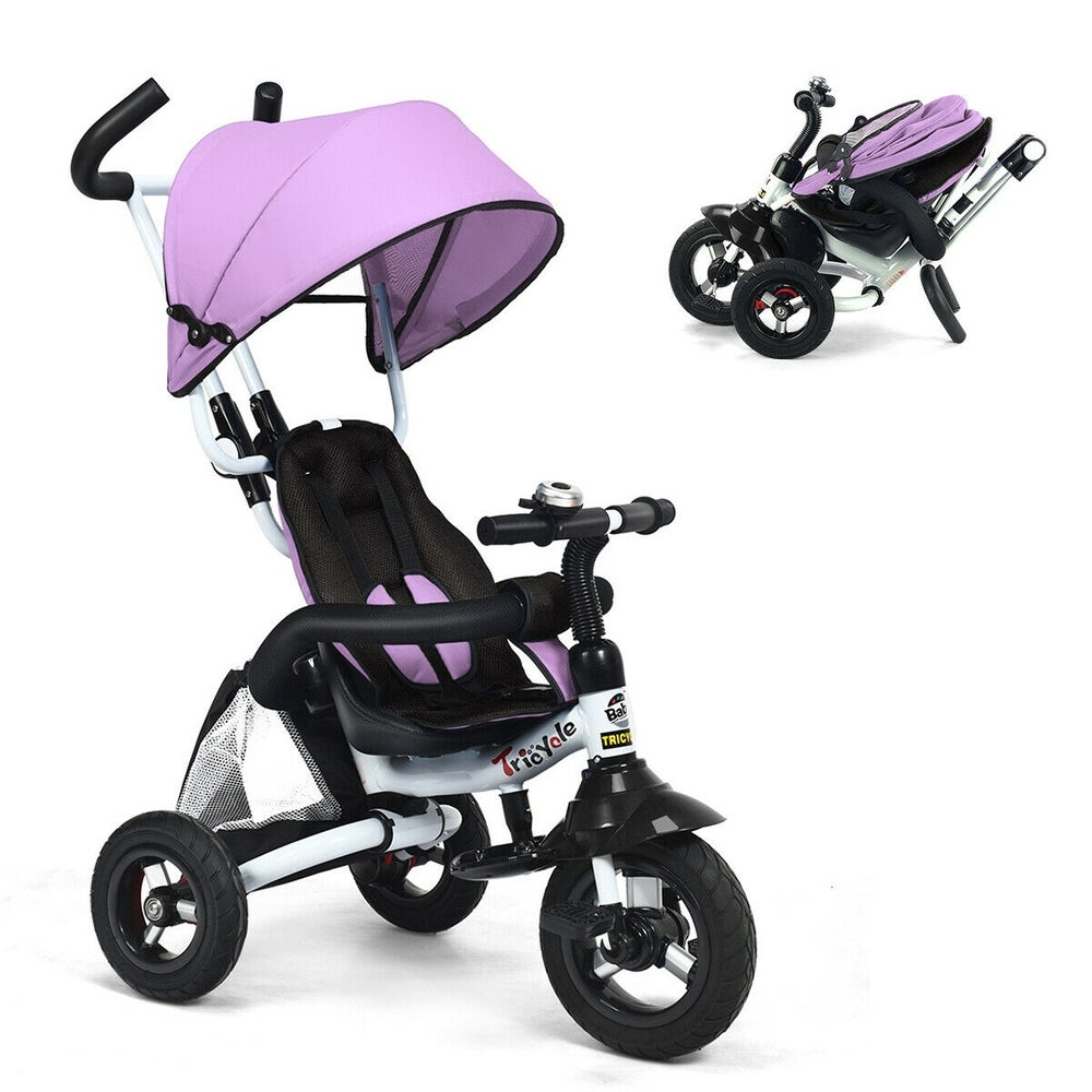Blue Macaw Toddler Tricycle 4 in 1 Stroll Trike with Adjustable Push Handle Safety Seat Removable Roof Retractable Foot Plate Lockable Pedal,Baby Tricycle for Children Aged 1-5 Years Old