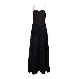 Aidan by Aidan Mattox Women's Rosette Chiffon Spaghetti Gown (8, Black) - 8
