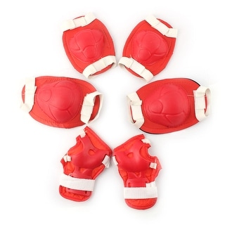 Skating Spong Palm Elbow Knee Pad Protector Support Guard Set Red White 6 in 1