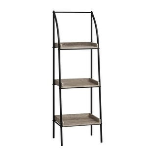 Monarch Specialties I 7228 48 Inch Tall Three Tier Wood Shelving Metal Bookcase