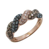 Prism Jewel 0.91Ct Multi Color Diamond & Natural Diamond Fancy Ring, Rose Gold - Blue/Brown/White G-H
