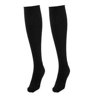 Adult Cotton Blends Knee High Style Rugby Soccer Football Long Socks Black Pair