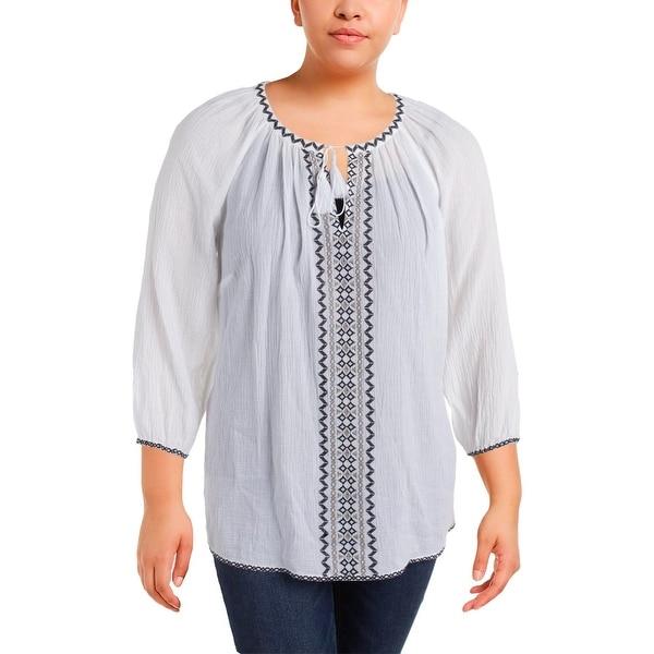 81b013b51e1 Shop NYDJ Womens Plus Peasant Top Gauze Embroidered - Free Shipping ...
