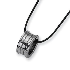 Chisel Tungsten Carbide Slide Pendant on 18 Inch Leather Cord (2 mm) - 18 in