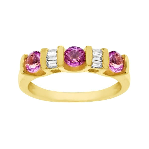 1 ct Pink Sapphire & 1/8 ct Diamond Ring in 14K Gold