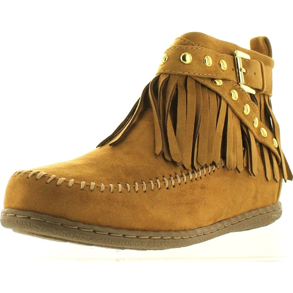 Soda Women's Dahlia Faux Suede Moccasin Fringe Wedge Ankle Bootie