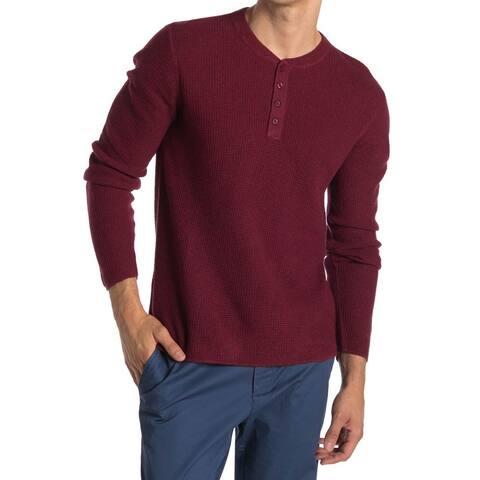 Original Penguin Mens Long Sleeve Waffle Henley Shirt XX-Large Bright Red