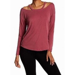 Harlowe & Graham Pink Womens Small S Ribbed Cold-Shoulder Knit Top
