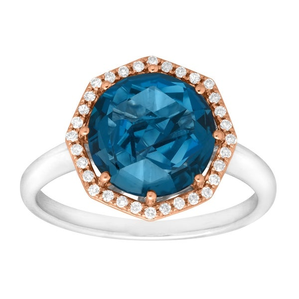3 1/3 ct Natural London Blue Topaz & 1/8 ct Diamond Ring in Sterling Silver & 10K Rose Gold