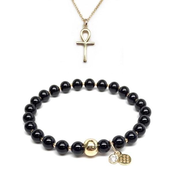 """Black Onyx 7"""" Bracelet & Ankh Cross Gold Charm Necklace Set"""