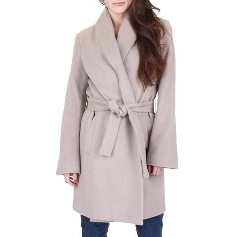 T Tahari Womens Gabrielle Wrap Coat Winter Wool Blend