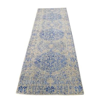 "Shahbanu Rugs Wool and Silk Mamluk Design Jacquard Hand Loomed Runner Oriental Rug (2'5"" x 8'0"") - 2'5"" x 8'0"""