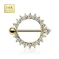 "14 Karat Solid Yellow Gold Sunburst Round Multi CZ Nipple Shield Ring 14GA 5/8"" Long (Sold Individually)"