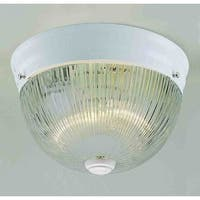 Volume Lighting V7158 2-Light Flush Mount Ceiling Fixture with Clear Ribbed Glass Dome Shade - White