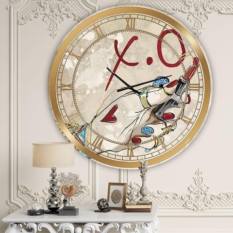 Designart 'Gypsy Hippy Hand Lipstick xo' Cottage Wall Clock