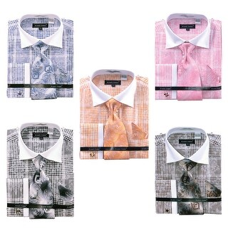 Men's Check Pattern French Cuff Shirt with Cufflinks