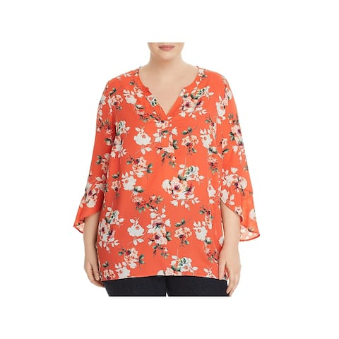 Status by Chenault Womens Plus Blouse Floral Print Ruffle Sleeves - 2X