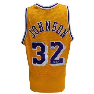 Magic Johnson Signed Custom Pro-Style Gold Basketball Jersey PSA