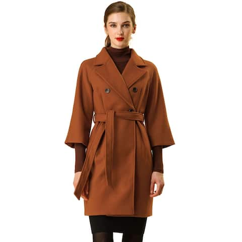 Women's 3/4 Raglan Sleeve Notched Lapel Double Breasted Winter Belted Coat - Brown