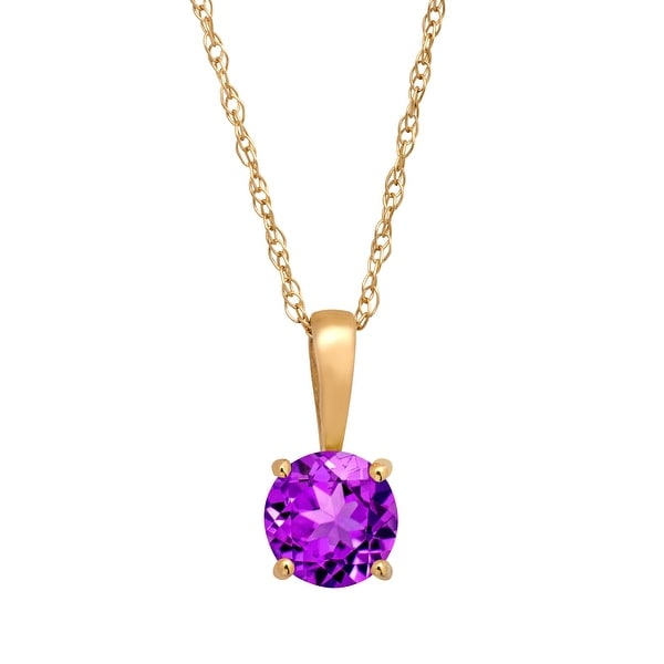 """3/8 ct Natural Round-Cut Amethyst Pendant Necklace in 10K Yellow Gold, 16"""" - Purple"""