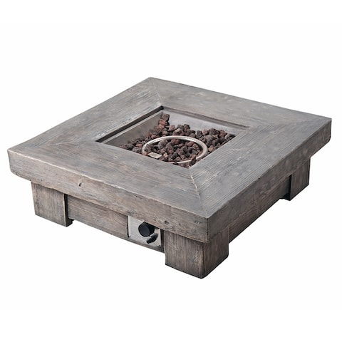 Peaktop - 35 Inch Outdoor Square Lightweight Ceramic Propane Gas Fire Pit
