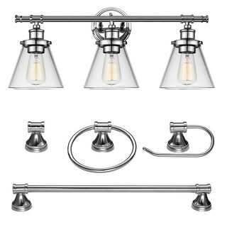 "Globe Electric 51234 Parker 3-Light 24-5/8"" Wide Bathroom Vanity Light - Towel Bar, Towel Ring, and Paper Holder Included"