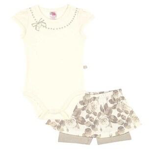 Pulla Bulla Baby Girl Bodysuit and Floral Skort set ages 3-12 Months