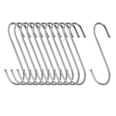 "Metal S Hooks 4.53"" S Shaped Hook Hangers for Kitchen Multiple Uses 12pcs - White - 3Pack"