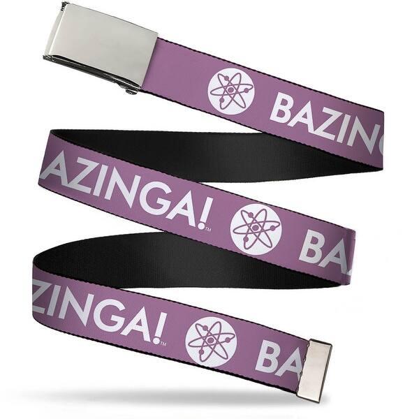 Blank Chrome Buckle Bazinga! Atom Logo Lavender White Webbing Web Belt