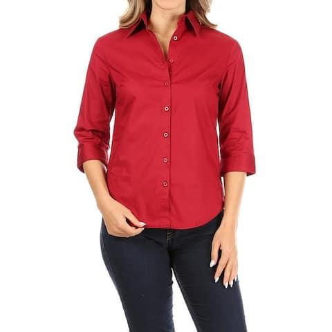 Women's Casual Stretch Button Down Blouse Shirt