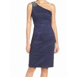 Eliza J NEW Blue Womens 4 Ruched Embellished One-Shoulder Sheath Dress
