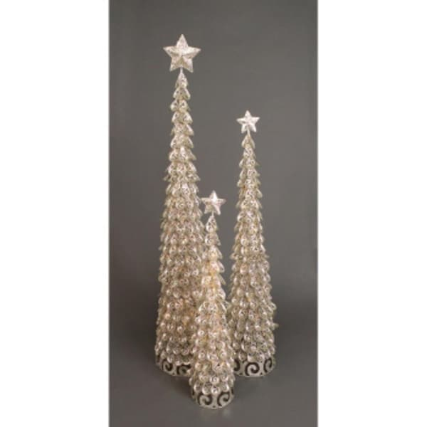 Set of 3 Silver Glittered Metal Christmas Trees 3' - 5' - Clear Lights