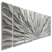 Statements2000 Silver Etched Modern Metal Wall Art Sculpture by Jon Allen - Silver Plumage