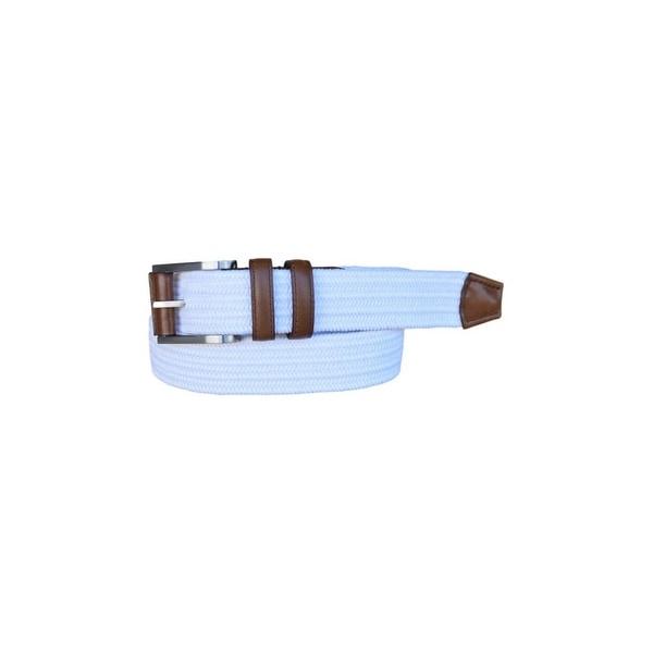 Lejon Belt Mens Charter Cotton Leather Straps White