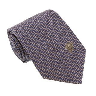 Versace Blue/Beige Woven Geometric Tile Tie
