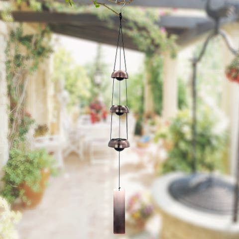 ASTARIN Temple Memorial Wind Chime, Red Copper Wind Chimes with 3 Bells