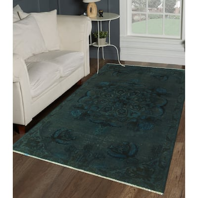 """Vintage Overdyed Ivalyn Blue/Charcoal Rug - 3'4"""" x 5'4"""""""