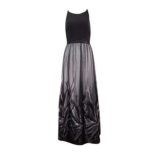 Calvin Klein Women's Embroidered Beaded Jersey Gown - black/tin