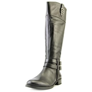 INC International Concepts Fahnee Women Round Toe Leather Black Knee High Boot