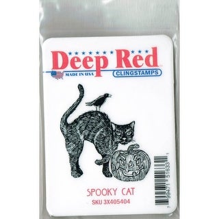 Deep Red Stamps Spooky Cat Rubber Cling Stamp - 2 x 2