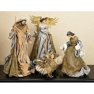 21 3 Piece Holy Family Lace Mache Nativity Set