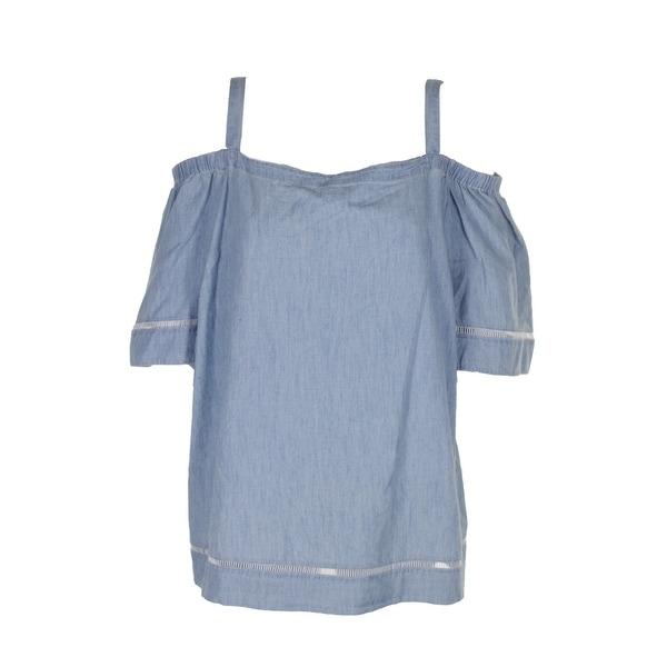 e367a1a68d1279 Shop Lauren Ralph Lauren Plus Size Denim Lace Trim Off-The-Shoulder ...